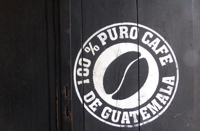 A coffee sign in Antigua, Guatemala