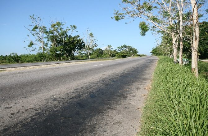 An empty highway between Havana and Vinales in Cuba