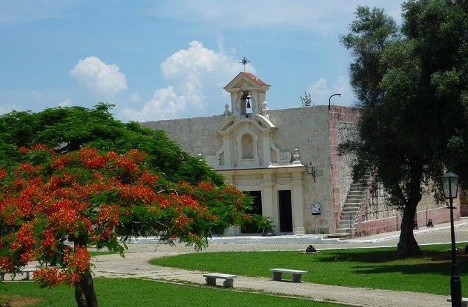 A colourful tree and building at La Cabana Havana