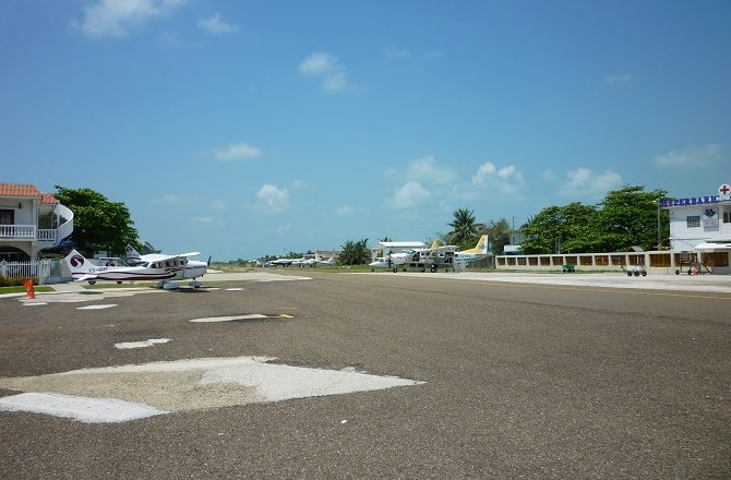 San Pedro airport on Caye Ambergris, Belize