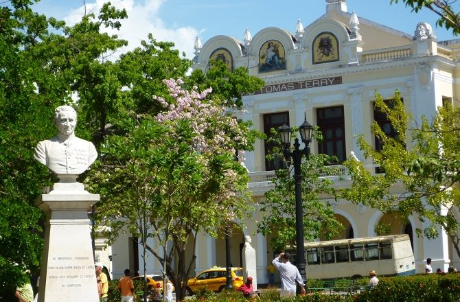 Looking across Parque Jose Marti to Teatro Tomas Terry in Cienfuegos, Cuba