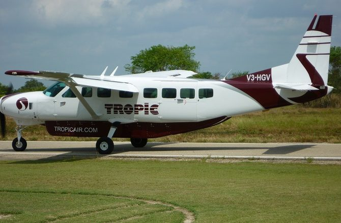 Tropic Air plane at Corozal Airport in Belize