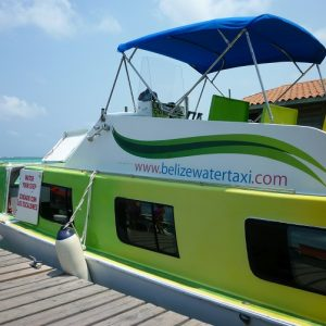 The Belize Water Taxi company in Caye Caulker, Belize