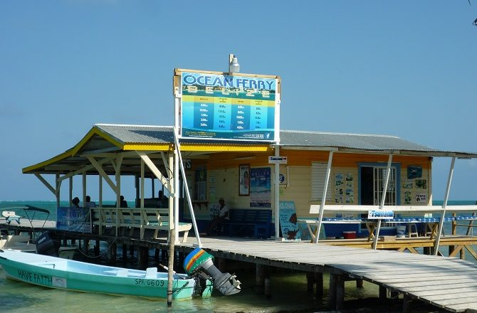 The Ocean Ferry boat terminal in Caye Caulker, Belize