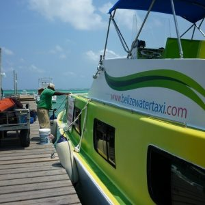 Loading the Belize Water Taxi boat