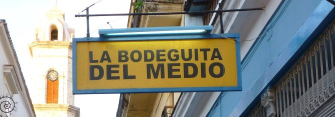 The Bodeguita del Medio bar in Havana, made famous by Ernest Hemingway