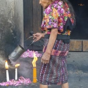 Religious ritual outside St Tomas church in Chichicastenango, Guatemala