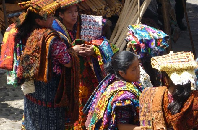 Mayan women trading at the Chichicastenango market in Guatemala