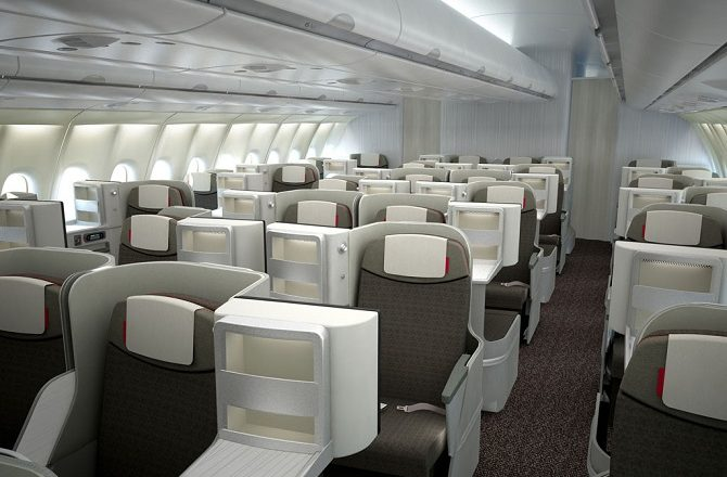 The business class cabin on an Iberia A330 as used on flights to Havana