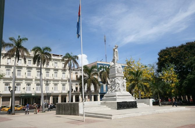 The statue of Jose Marti in front of the Hotel Inglatera, Havana