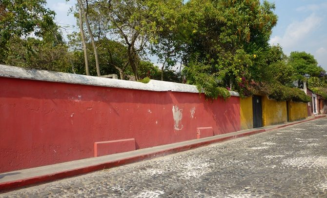 A cobbled street in Antigua, Guatemala