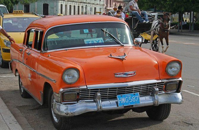 A classic car taxi in Old Havana, Cuba