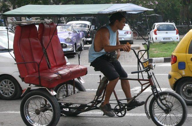 A cycle rickshaw in Old Havana, Cuba