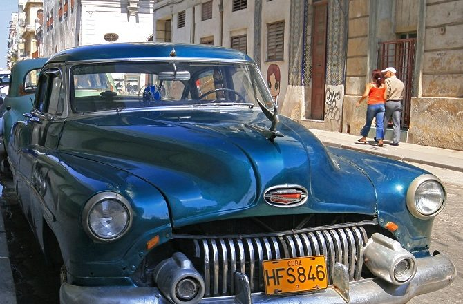 A vintage 1950s American car in Old Havana, Cuba
