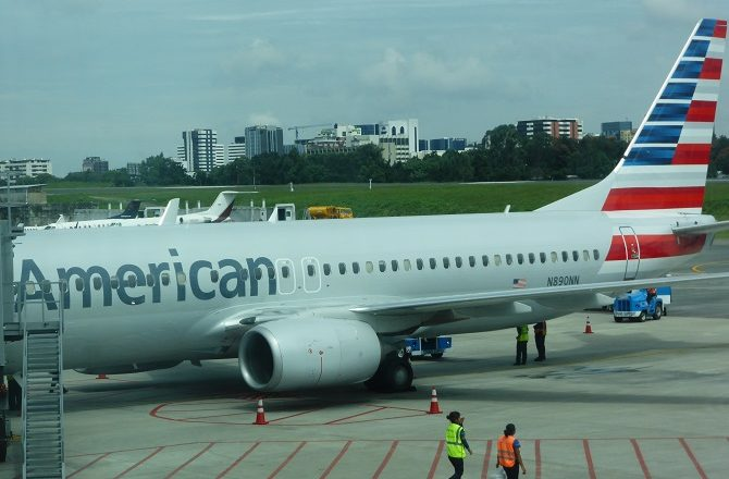 An American Airlines aircraft at La Aurora International Airport, Guatemala City