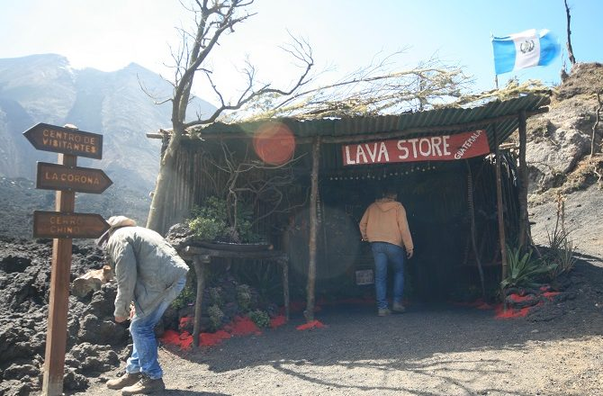 The lava store on Mt Pacaya in Guatemala