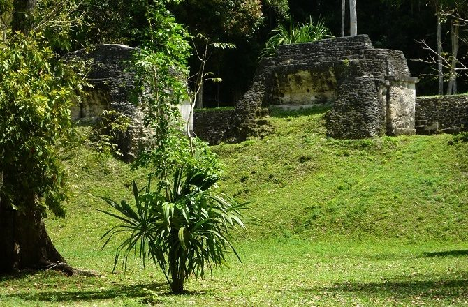 Ruined buildings in the UNESCO World Heritage site of Tikal, Guatemala