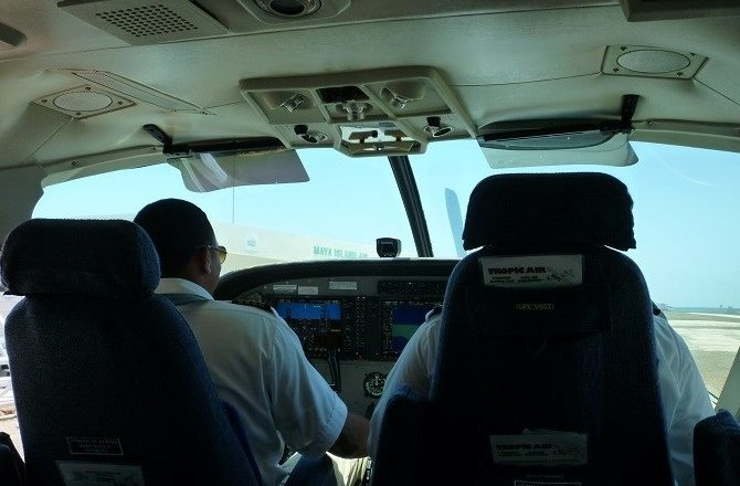 The pilots on a Tropic Air flight in Belize