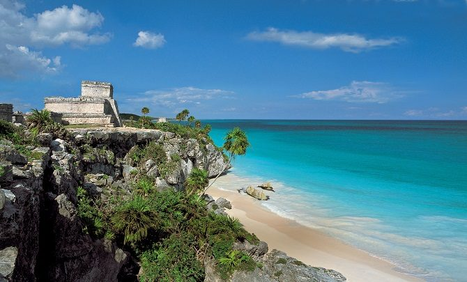 The Mayan ruins at Tulum overlooking the Caribbean