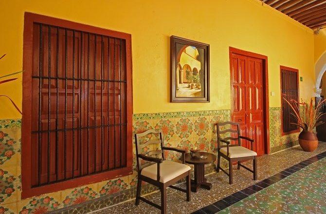 A corridor at Hotel Castelmar in Campeche
