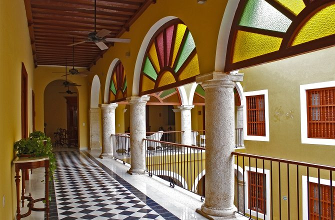 The first floor landing of Hotel Don Gustavo in Campeche