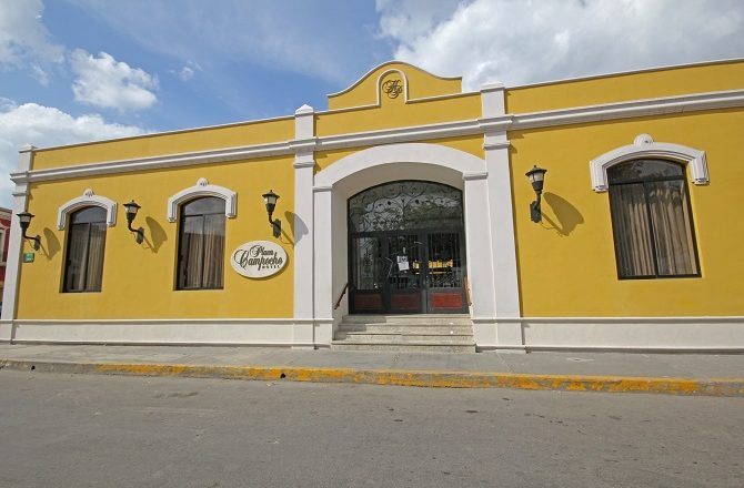 The front entrance of the Hotel Plaza Campeche