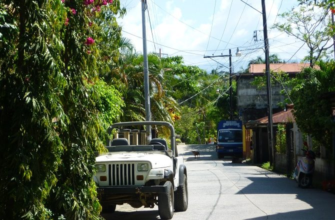 A quiet street in Livingston, Guatemala
