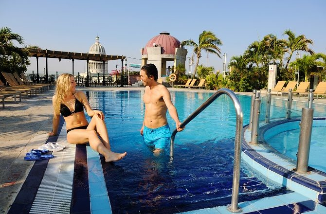 One of two rooftop swimming pools at the Iberostar Parque Central hotel in Havana