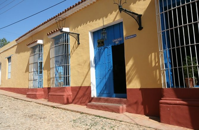 The street entrance to Casa Colonial el Patio in Trinidad, Cuba