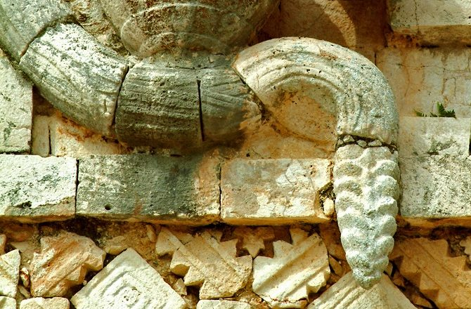 Carving of a snake at Uxmal