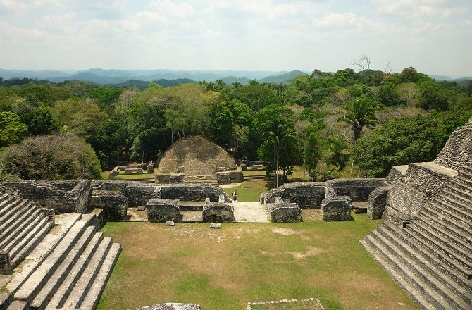 Looking down from the main pyramid at Caracol, Belize