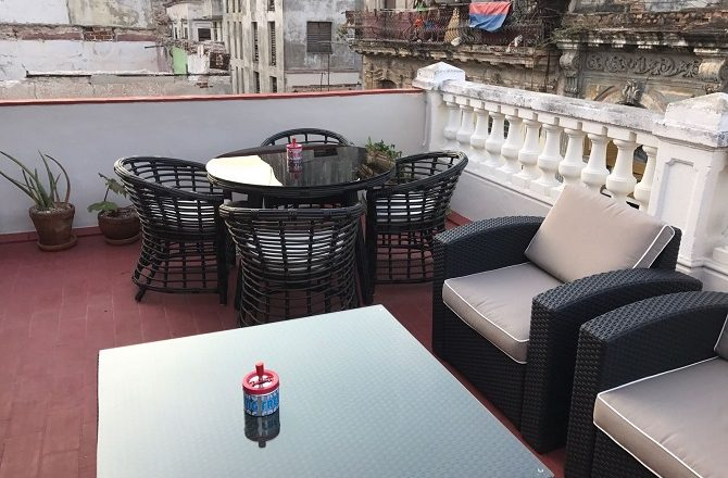 The roof terrace at Casa El Madero in Old Havana, Cuba