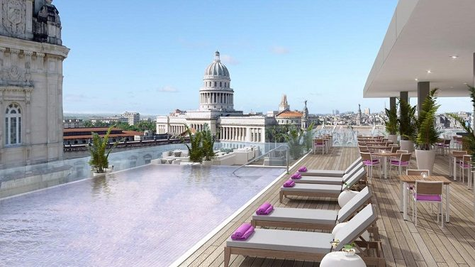 The rooftop pool of the Kempinski La Habana in Cuba