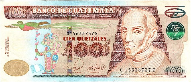 A 100 Quetzal bank note from Guatemala
