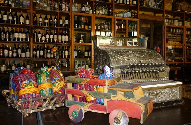 Interior of a wine bar in Antigua, Guatemala