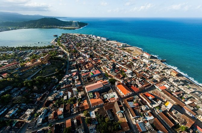 Flying over Baracoa towards the airport