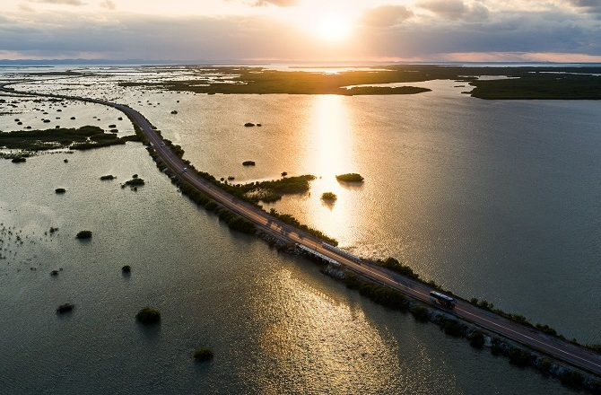 The causeway linking mainland Cuba to Cayo Santa Maria by Marius Jovaisa in Unseen Cuba