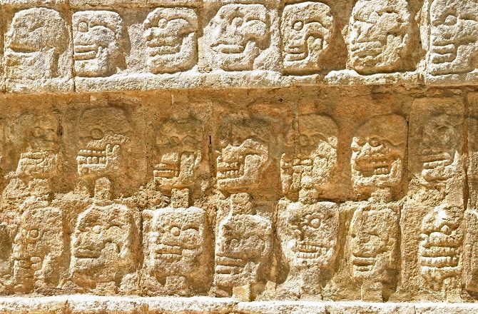 Skull carvings at Chichen Itza