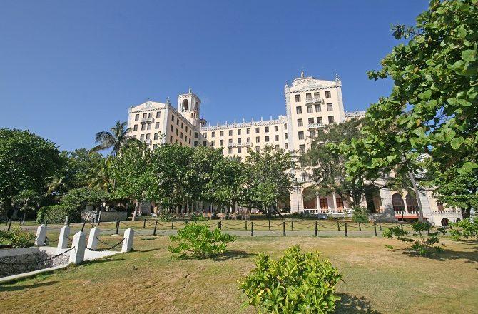 The rear facade of the Hotel Nacional in Havana