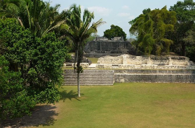 Howler monkeys can often be spotted at the Mayan ruins at Xunantunich in Belize.