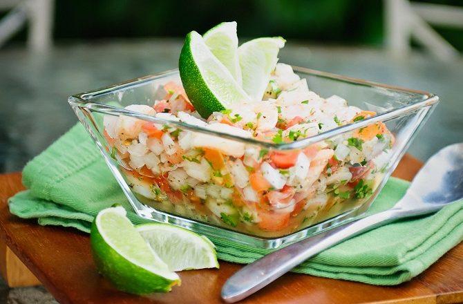 A bowl of Ceviche Yucatan style