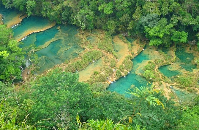 An overhead view of Semuc Champey