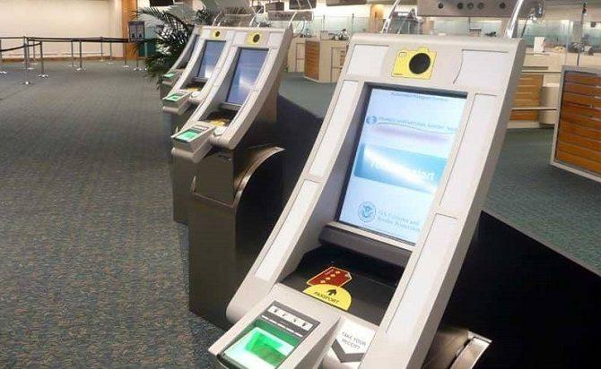 An ESTA machine for reading passports at Miami & Houston airports