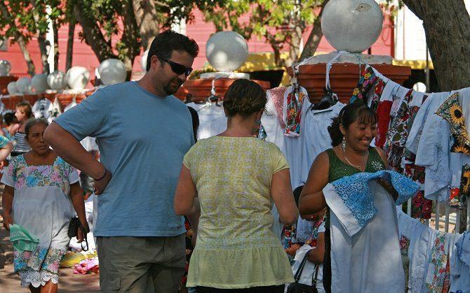 Market sellers in Valladolid Yucatan