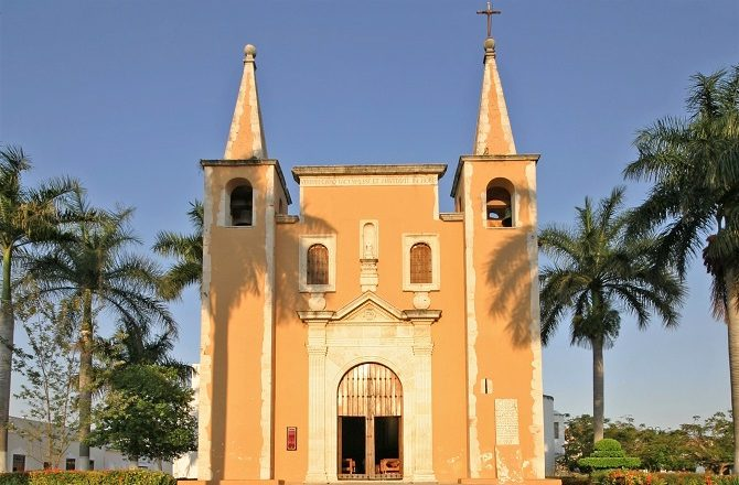 A colonial-era church in the Yucatan Peninsula