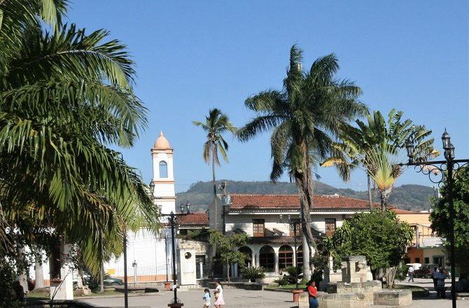 Church and square in Copan Ruinas in Honduras