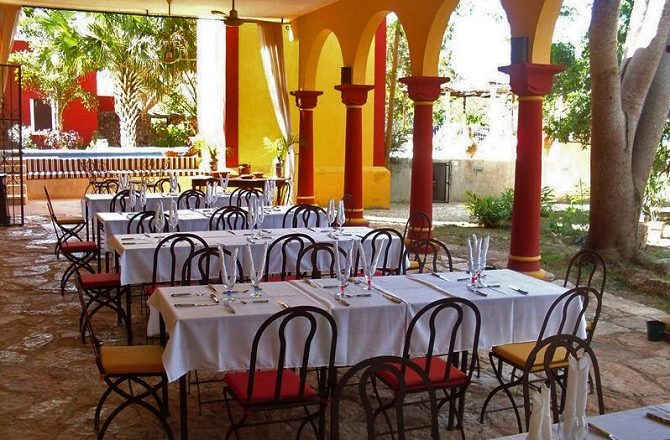 The restaurant at the Hacienda Santa Cruz in the Yucatan Peninsula
