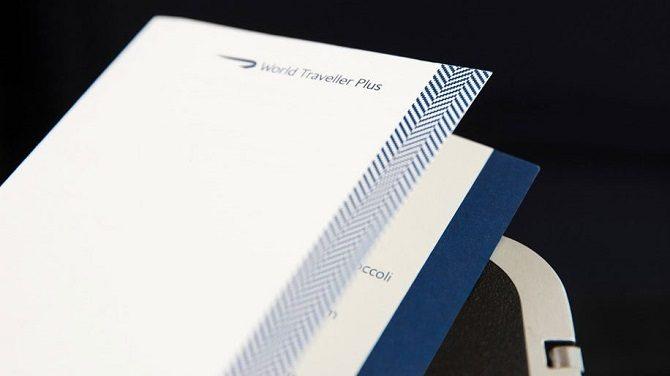 New British Airways menus for World Traveller Plus