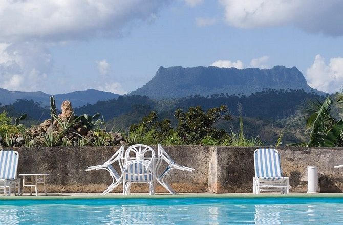 View from the hotel pool at El Castillo hotel in Baracoa Cuba
