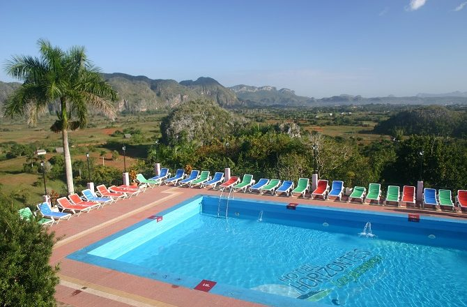 View of the Vinales Valley from Hotel Los Jasmines swimming pool